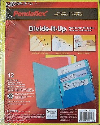 12 Pendaflex Divide-It-Up Multi-Section File Folders -Letter Size- 10773 - New