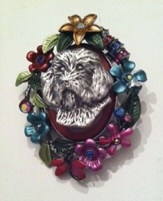 Petit Basset Griffon Vendéen~Havanese Dog  Flower BROOCH~Pin~dog jewelry~PBGV