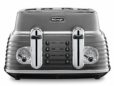 DELONGHI Scultura CTZ4003GY 4 Slice Toaster Gunmetal 1800 W Defrost Function