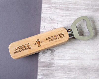 Personalised Engraved Wooden Bottle Opener Save Water Any Name Text Custom
