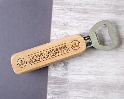 Personalised Engraved Wooden Bottle Opener Best Man