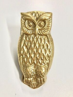 """Vintage Large Solid Brass Owl Paperclip Paperweight 3"""" Euc"""