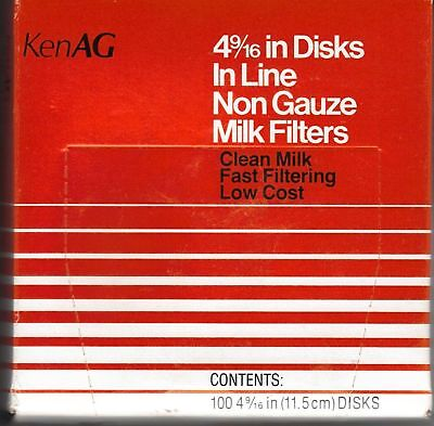 """KenAg Filter Disk 4 9/16"""" 100 Count D506 Non Gauze Milk Filters Cattle Dairy"""