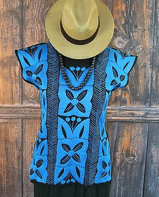 Blue & Black Hand Embroidered Huipil Blouse Jalapa Mexico Hippie Boho Peasant
