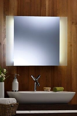 Bathroom Wall Mirror LED AMBIENT surround light with Frosted Edging Rect 60 X 80