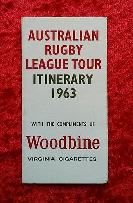 Australian Rugby League Great Britain Tour Itinerary 1963 Hull Etc RARE