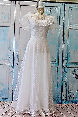 Vintage White 1970's Lace Wedding Hen Night Party Theatre Fancy Dress UK 8-10