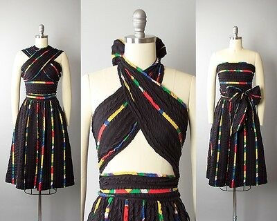 Vintage 1950s Dress 50s Striped Cotton Sundress Wrap Top Black Full Skirt Dress