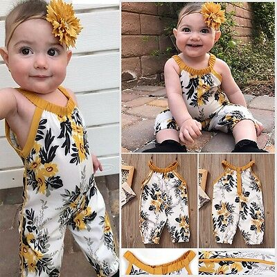 Toddler Kids Baby Girls Romper Floral Jumpsuit Bodysuit Clothes Outfit Set New