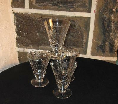 Vintage Ice Tea's footed cut design fine Crystal clear as ice! lot of 4