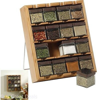 Kamenstein Bamboo Inspirations 16-Cube Spice Rack, Spices and Seasonings Organiz