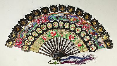Very Unusual Antique Chinese Folding Fan W Painted Scenes