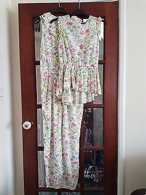 girls GEORGE NEW flower jumpsuit and tunic top matching age 11-12 years