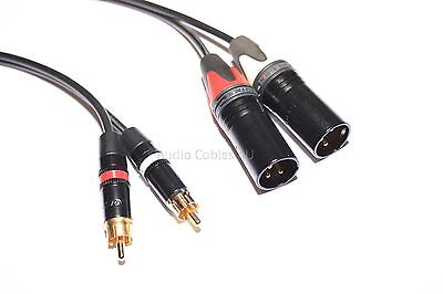 Neutrik Stereo RCA Phono to Male XLR Lead (PAIR). Pro Power Cable High Quality