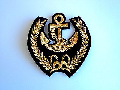 1x Black Gold Anchor Laurel Embroider  Cloth Patches Applique Badge Iron Sew On