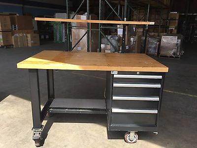 "Lista Rolling Workbench with Riser - 60""L x 36""W Butcher Block Tops, 4 Drawers"