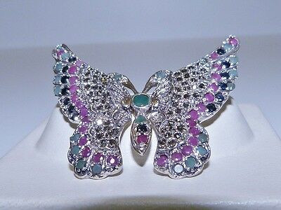 GENUINE 4.03tcw Sapphire, Ruby, Emerald, Marcasite Butterfly Brooch S/Silver 925