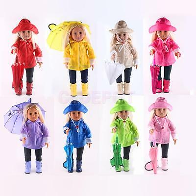 Raincoat Pants Hat Boots Umbrella for American Girl 18 inch Doll Clothes Outfits