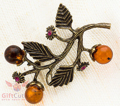 Solid Brass Amber Tree branch with flowers & fruits Brooch IronWork