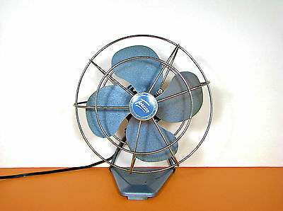 "Vtg Torcan Blue Electric 8"" Fan Model 8865 Metal Base Deco Eames Made In Canada"