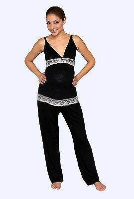 Maternity Nursing Black White Pajama Night Gown Breastfeeding Set Lace S M L XL