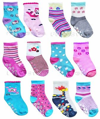 New Baby Girl Anti Slip Socks Toddler Kid Cotton 2/4/6 Pairs ABS 0-12-24 months