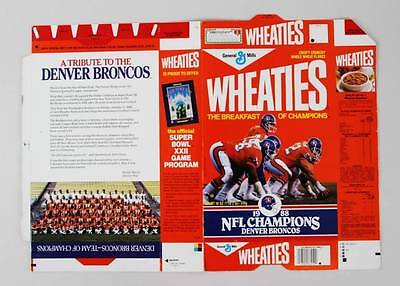 Rare 1988 Denver Broncos Wheaties Box From Factory – Showing as Super Bowl Ch...