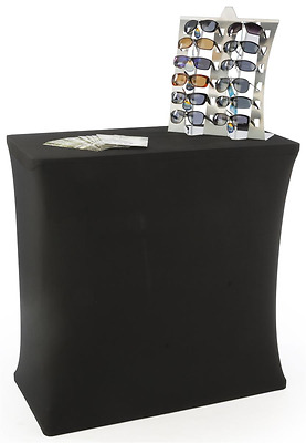 Displays2go Portable Trade Show Counter Kiosk with Pop Up Stand, Stretch Cover,