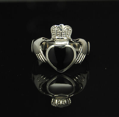 Claddagh Ring Size 5 Black Celtic Ring Stainless Steel Claddagh Ring Irish Rings