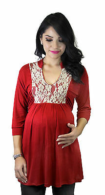 Red Maternity Long Sleeve 3/4 Sleeve Maternity Pregnancy Top Lace Brown S M L XL