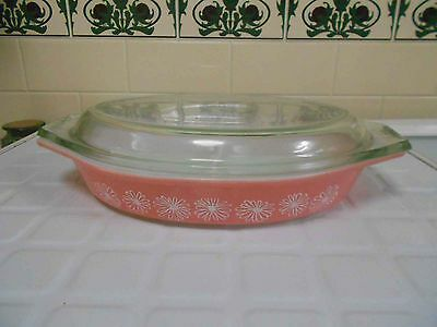 Vintage Pyrex, Milk Glass  JAJ 'Pink Daisy' Divided Dish with lid excellent cond