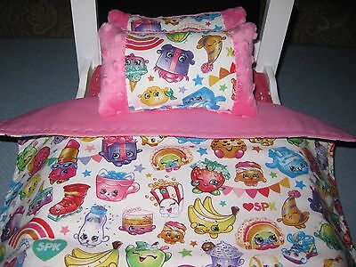 Cute American Girl Inspired 3 Piece Shopkins Doll Bedding For 18'' Dolls