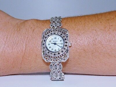 VINTAGE STYLE!! 34.9gr Marcasite & MOP Bracelet Watch Solid S/Silver 925!
