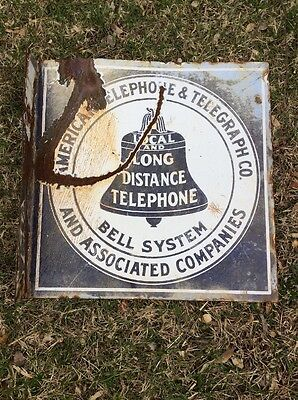 """AT&T Bell System Telephone Local & Long Distance Porcelain 16"""" x 16"""" Flange Sign"""
