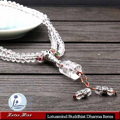 Lotusmind sparkling faceted clear crystal 108 prayer bead mala Mani mantra