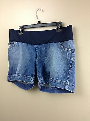 liz lange maternity Size Medium Elastic Waist Denim Blue Jean Shorts