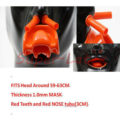 Heavy Latex Men Mask1.0mm with Red Teeth AND Red nose tube Heavy(Fits 59-63cm)