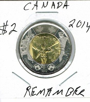 2014 Canadian Brilliant Uncirculated Commemorative Remember $2 Toonie coin!