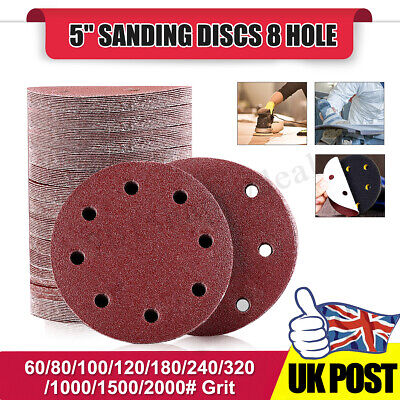 "10x 125mm - 5"" Hook Loop Sanding Discs 8 Hole 60#-2000# Grit Orbital Sander Pads"
