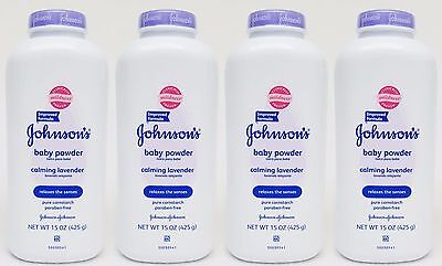 4 Johnson's Baby Powder CALMING LAVENDER Relaxes the Senses Pure Cornstarch 15oz
