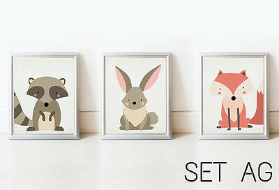 SET New Nursery Home Decor Wall Art Kids Printable Picture Baby Kid Room Animals