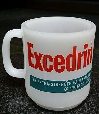 $Rare$ ! Vintage Excedrin Advertising Milk Glass Coffee Mug 1960's  $$$$$ !!!!!