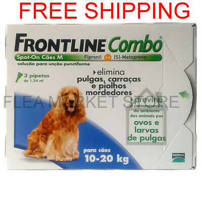 Frontline combo 3 x pack Merial medium dog 10kg - 20kg 22 lb - 44 lb blue flea