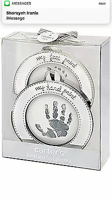 Carter`s Hand and Foot Print Keepsake, Silver , New, Free Shipping