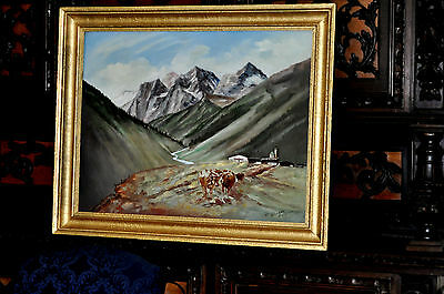 Large early 20th century signed Bavarian Landscape with cows  Oil on Canvas