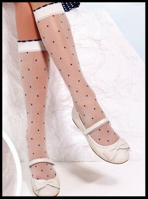 Girls White Dotted Frill Communion Bridesmaids Knee High Tights Socks 6 - 10 Y
