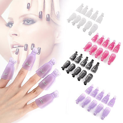 Lot 10/20 Capuchon Pince clip cap Ongles Faux Gel UV Cleaner Capsule Vernis