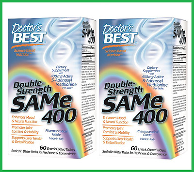 TWO BOTTLES: SAM-e 400mg 60 Tablets by Doctor's Best - 5 HTP SAMe Tryptophan