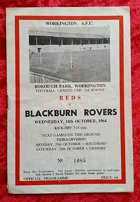 Workington Reds v Blackburn League Cup 3rd Round 14/10/1964 Football Programme