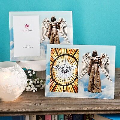 Angel Themed Glass Picture Frame - Baptism Christening / FC-12079
